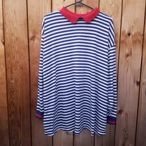 Vintage Oversized Red White Blue Striped Top