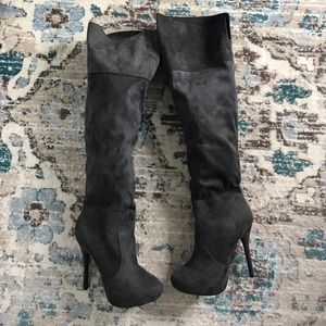 Grey faux suede over the knees boots