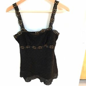Lace black and gold tank