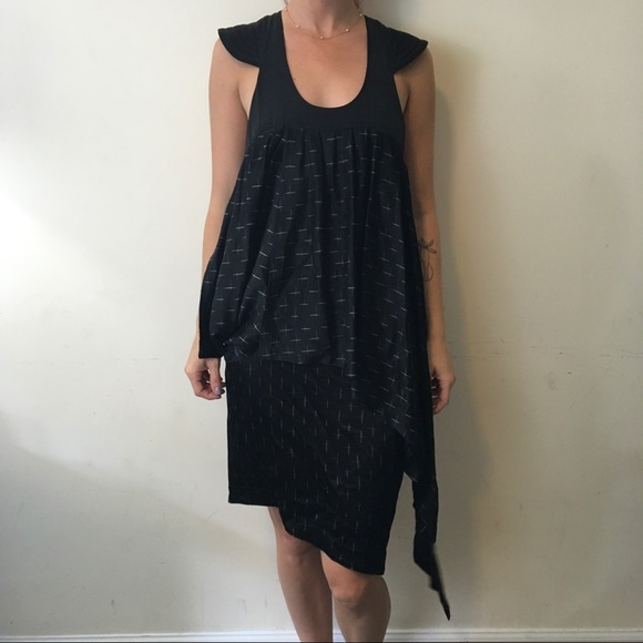 70 Off Karl Lagerfeld Dresses Black Printed Asymmetrical Dress
