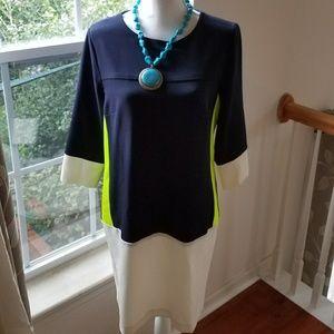J Taylor Navy Yellow White Size 12 Mod Dress