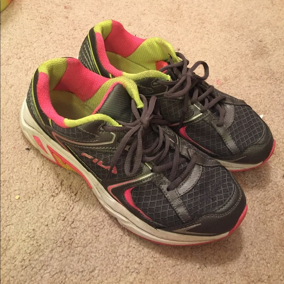 Grey Pink And Yellow Fila Running Shoes