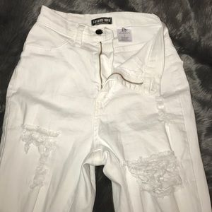 fashion nova white high waisted ripped jeans