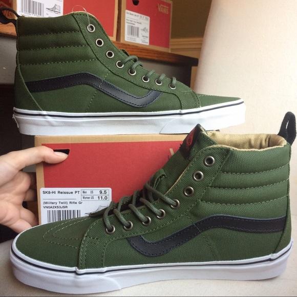 61ff1f07a4 💰Vans Sk8 Hi Top Military Twill Green
