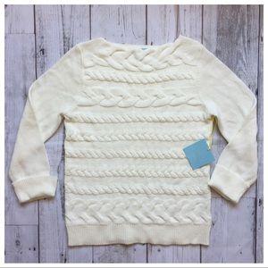CeCe White Ivory Boat Neck Sweater 🍍