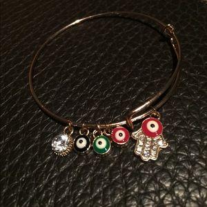 Gold Evil Eye Hamsa Expandable Bracelet