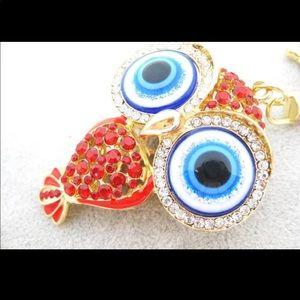 Evil Eye Owl Keychain Key Ring - Red