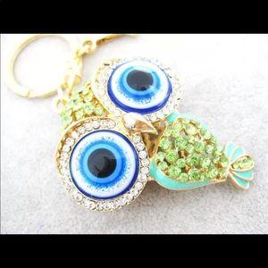 Evil Eye Owl Keychain Key Ring - Green