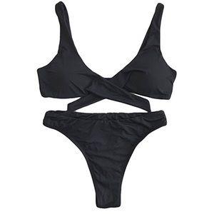 0c1be5b6bd811 Swim | Black High Cut Cheeky Knot Thong Bikini Set New | Poshmark