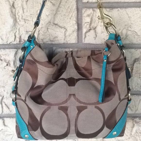 Coach Bags   Khaki Teal Carly Tote Purse Bag Rare Large   Poshmark 5de36f625c