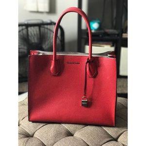 Michael Kors Bags - Bright Red Michael Kors Large Mercer Tote 232b3631eccdf
