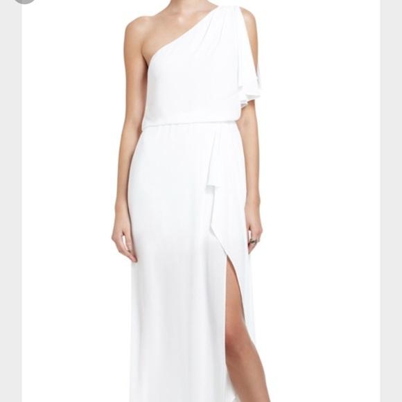 BCBG Dresses | White One Shoulder High Slit Grecian Dress | Poshmark