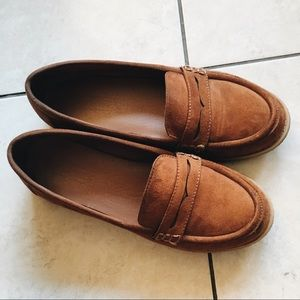 Topshop Chestnut Faux Suede Loafers