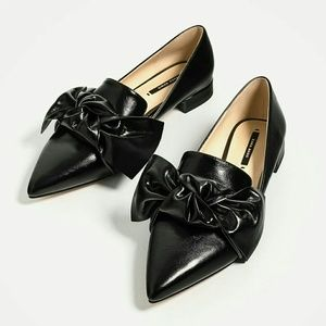 Zara flat shoes with bow detail 6 or 6.5 2408
