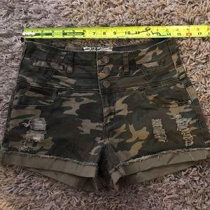 NWOT High Waisted Distressed Camouflage Shorts
