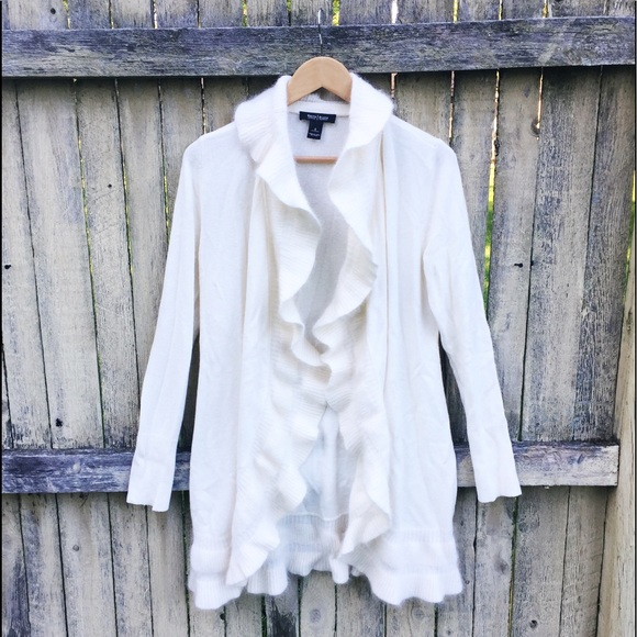 White House Black Market Sweaters - WHBM Cream Wool Flowy Cardigan