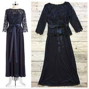 Patra Navy Lace Mock Top Gown 🍍