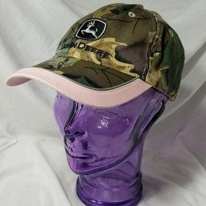 JOHN DEERE  Brown Camouflage & Pink Ball Cap