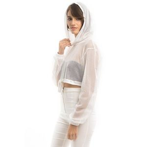 Style Link Miami Tops - White Fishnet Hoodie Crop Top be0629fd8