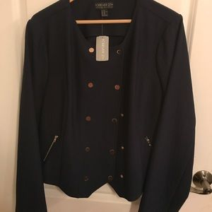 Navy Blue gold buttoned Fashion Blazer