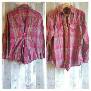 EUC TORRID pink plaid button up shirt