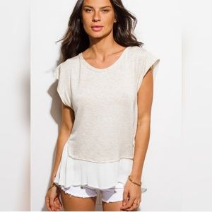 Tops - Last 1! 🌟White and Beige Layered Top