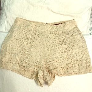 Cream high waisted shorts!