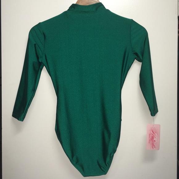 90s Green Long Sleeve Zip Up Mock Neck Bodysuit 553431b80