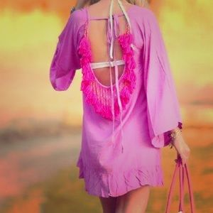 Other - Pink tassel open back ruffle hem cover up 👙👒
