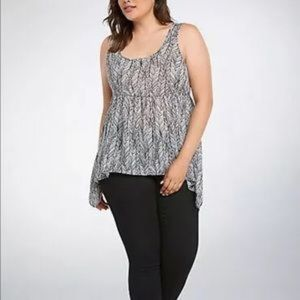 Torrid feather print chiffon tank top