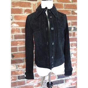 NWT Zara Suede Boho Button Collar Blazer Jacket S