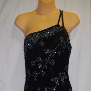 Scala M Fits S Black Gray Beads Sequins Dress