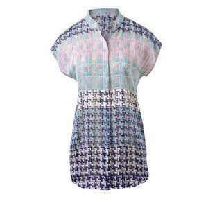 CAbi #735 Astor blouse mixed print semi sheer