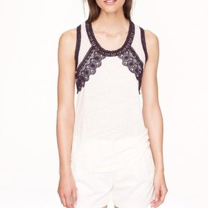 J. Crew Embroidered Tank Top