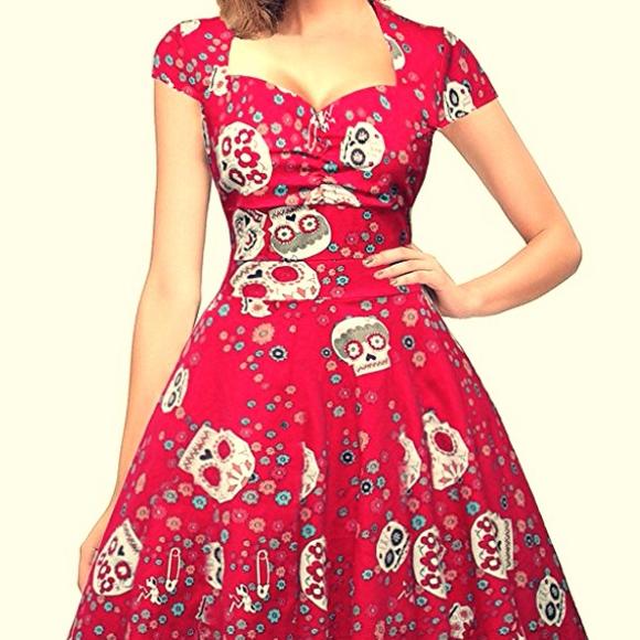 3f6437b05bf Sugar Skull Vintage Pinup Dress