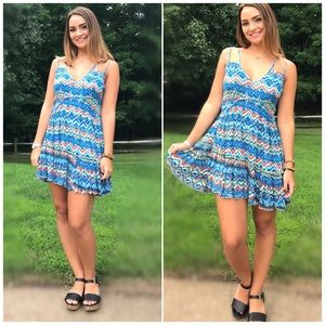 Umgee Ocean Blue Printed Criss Cross Boho Dress