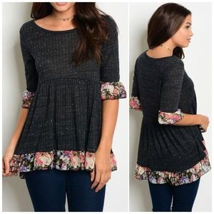Charcoal Floral Ruffle Top