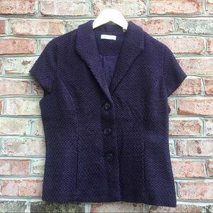 Coldwater Creek Purple Short Sleeve Wool Blazer