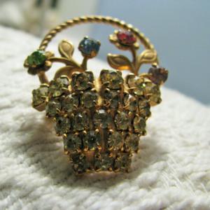 Vintage Rhinestone basket brooch