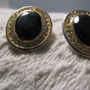 Hobe' designer black rhinestone pierced ER vintage