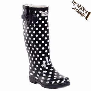 Women Rubber Black Polka Dots Rain Boots * RB-1511