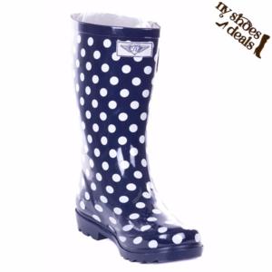 "Women's 11"" Mid-Calf Navy Polka Rubber Rain Boots"
