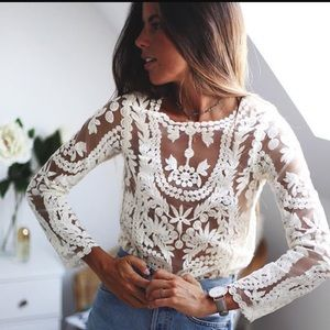 Tops - Oversized Sheer Lace Crochet Summer Tunic Top