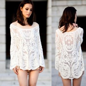 Boutique Sample Black or White Sheer Lace Tunic