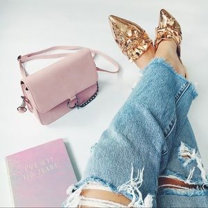 Shoes - 🆕Aurora Rose Gold Metallic Bow Pointy Toe Flats