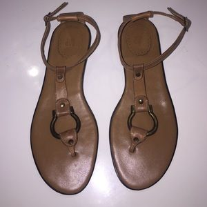 GAP: Tan Sandals w/Brass Detail, 8