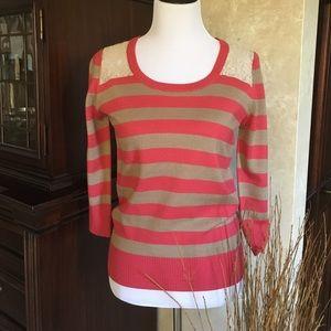 Annabella striped sweater w/ lace