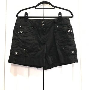 SALE! ☀️Long Black Women's Shorts Silver Buttons