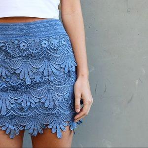 blue lace skirt
