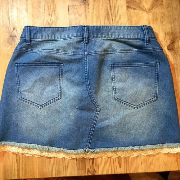 venus denim mini skirt w lace hem size 10 euc from